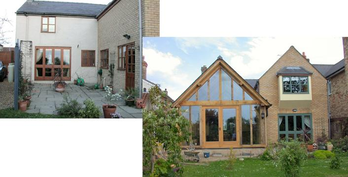 Before and after pictures of  an oak framed extension before and after