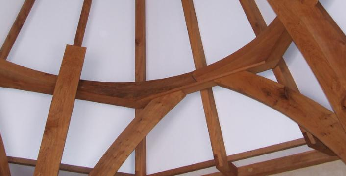 Handcut oak craftsmanship on the spire at Wells Cathedral.