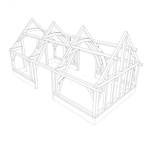Design for a barn-style oak frame ready for direct glazing.