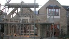 An oak frame after raising, but before the extension is finished.