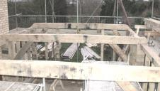 The construction of an oak frame, on site.