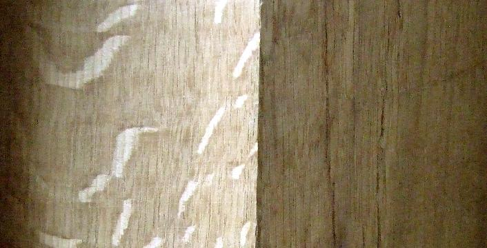 A sample showing scub planed and waxed oak.