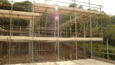 Scaffolding and safe working platforms on a self build project.