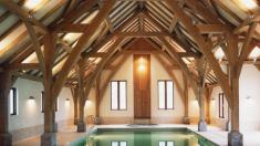 Aisled oak framed pool house.
