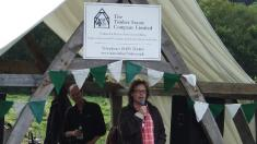 Hugh Fearnley-Whittingstall in a cruck marquee, loaned by The Timber Frame Company.