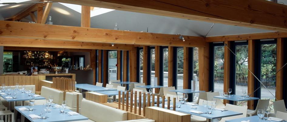 Douglas fir beams over the dining room at The Terrace Restaurant.