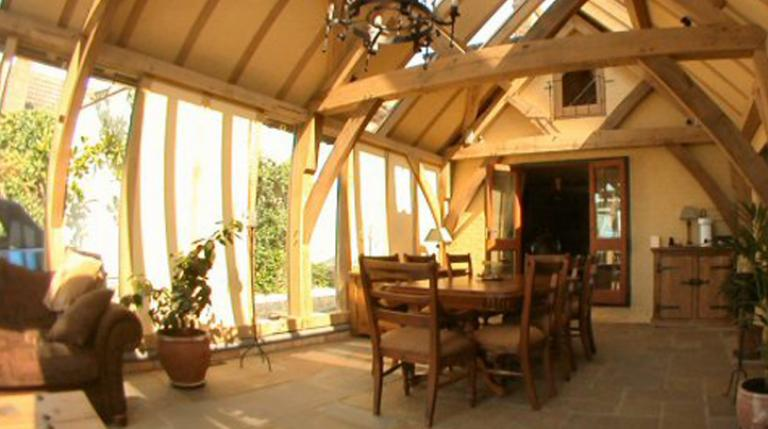 View of a garden room extension taken with a fish eye lens.