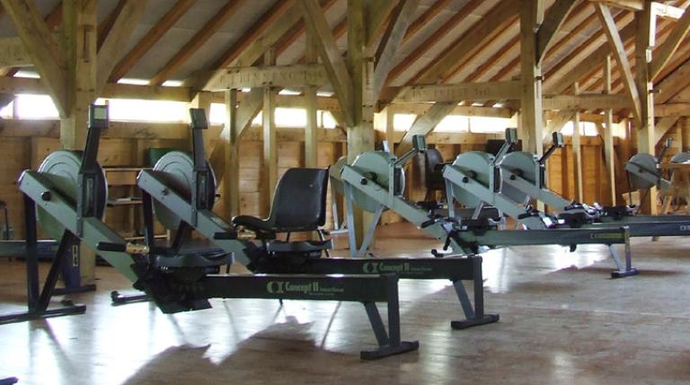 Rowing machines at Abingdon boathouse.