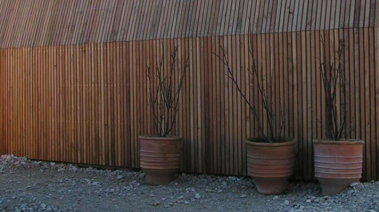 Larch cladding with plant pots in front.
