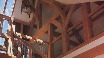 The stairwell in an oak framed house.