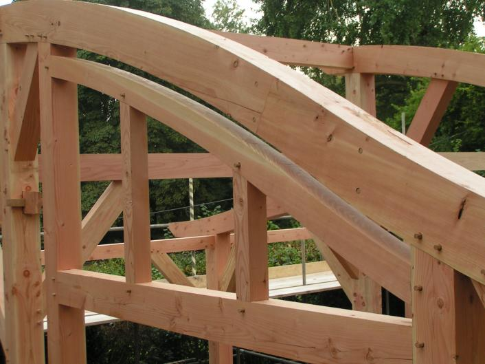 Curved timbers in a Douglas fir frame.