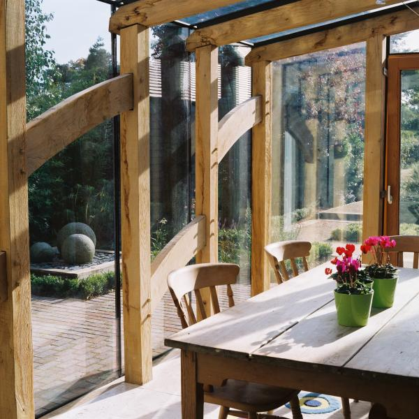 Externally glazed oak framed breakfast room in the garden.