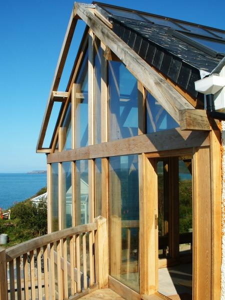 View accross the sea from an oak framed balcony
