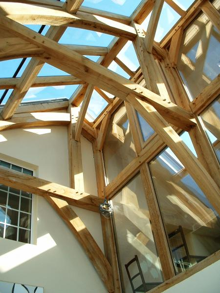 A complex oak frame with glass roof.