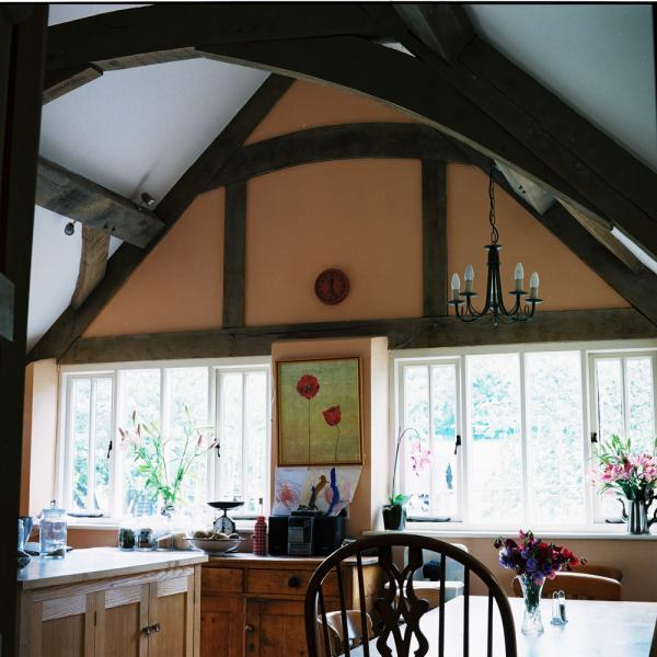 Oak framed kitchen, built in the house's original style.