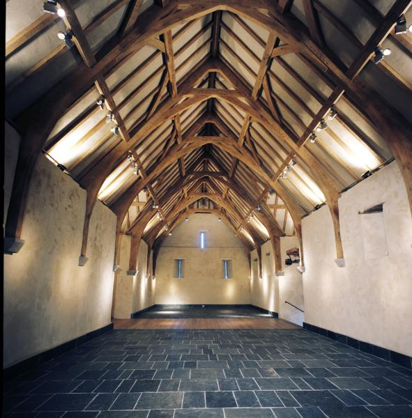 A refurbished tithe barn roof.