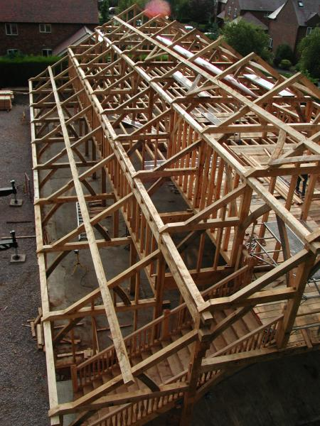 Abingdon boathouse frame during its raising.