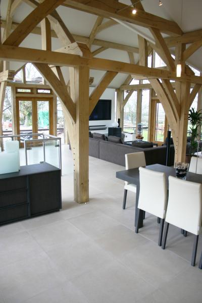 An open plan space with a sandblasted oak frame.